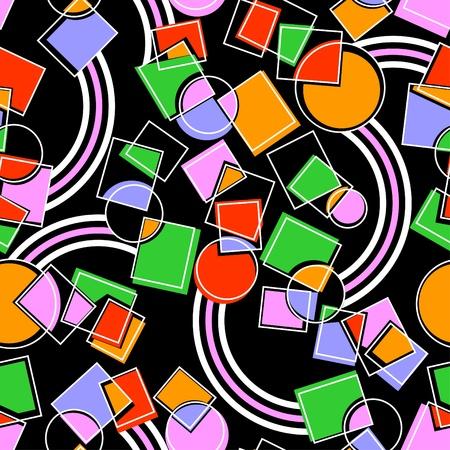 Color geometrical figures. A dark seamless background. Иллюстрация