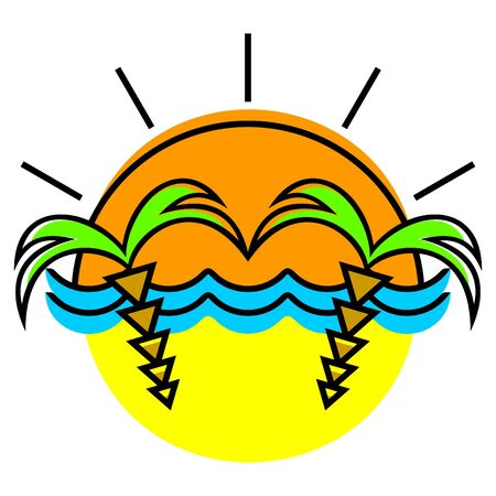 The symbolical image of the sun, waves and palm trees. Vector