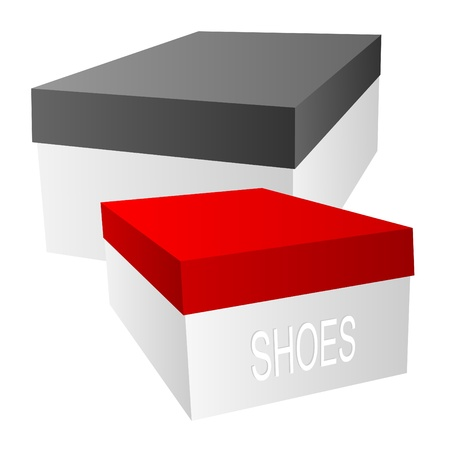 lid: Two boxes for footwear on a white background.