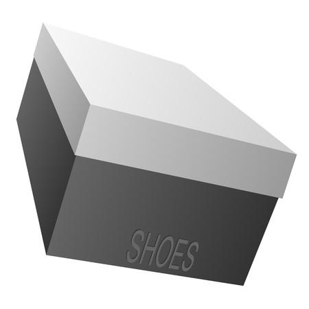 shoe boxes: Caja negra para calzado sobre un fondo blanco.