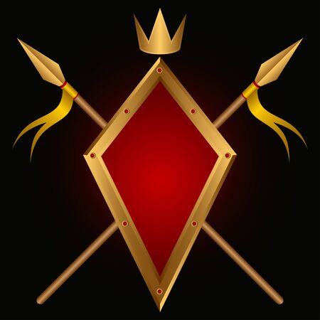 slashing: Board and spears on a black background. Above a crown. A heraldic composition.