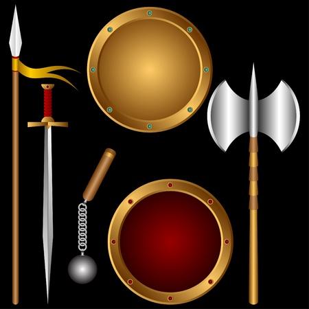 espadas medievales: El arma antiguo diferente sobre un fondo negro.