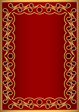 Decorative framework in gold and red color. Vector