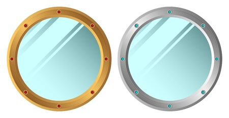 reflection in mirror: Two decorative mirrors on a white background.