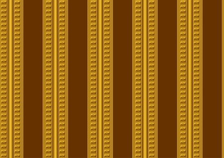 Seamless wallpaper. A gold ornament on a brown background. Vector