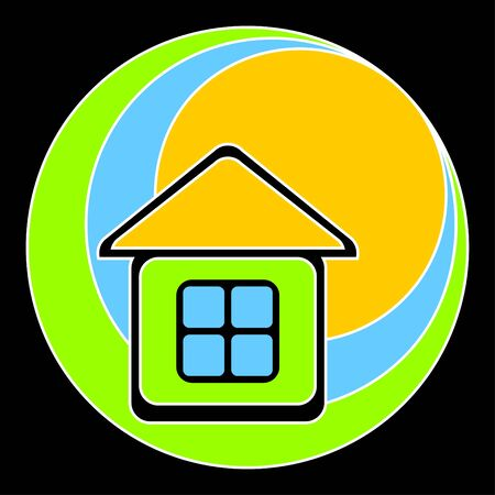 yellow roof: Logo in the form of the house with a yellow roof. The house against the sun, sky and a green grass. Illustration