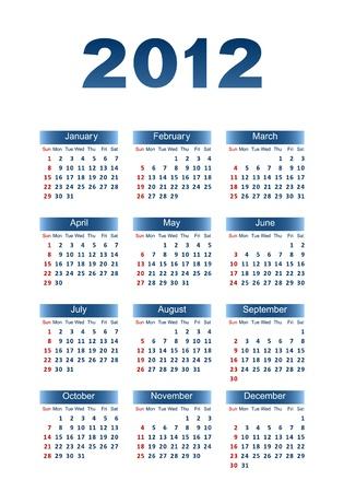 Calendar for 2012. Dark blue letters and figures on a white background. Ilustração