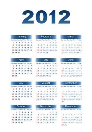 Calendar for 2012. Dark blue letters and figures on a white background. Illustration