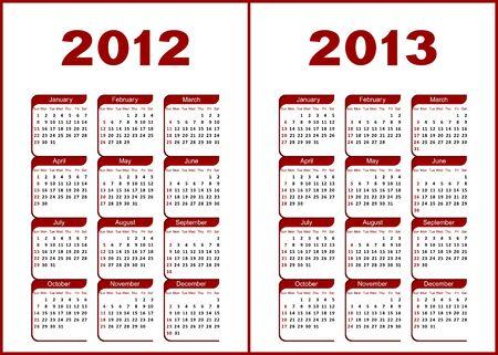 Calendar for 2012,2013.Red  letters and figures on a white background. Ilustração