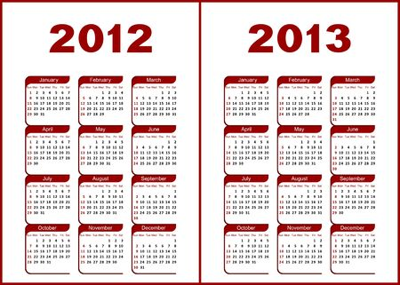 Calendar for 2012,2013.Red  letters and figures on a white background. Illustration