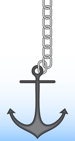 Ship anchor on it is white a blue background. Illustration