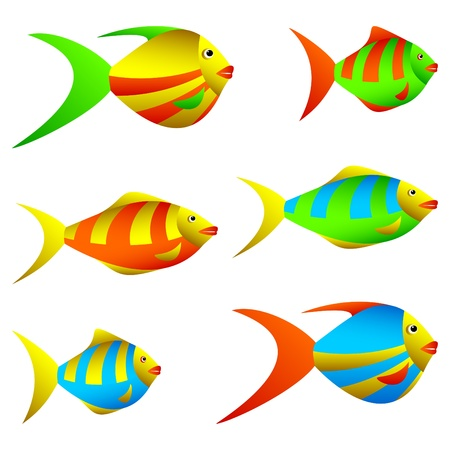 Multicolored small fishes on a white background. Vector