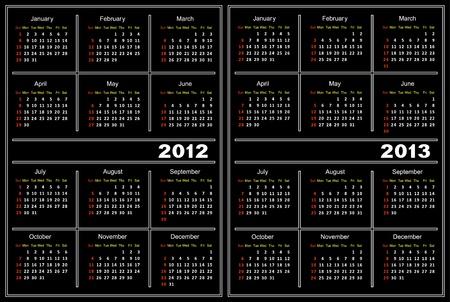 Template of a calendar of black color. A calendar for 2012 and 2013.