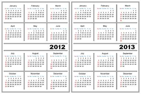 Template of a calendar of white color. A calendar for 2012 and 2013. Vector