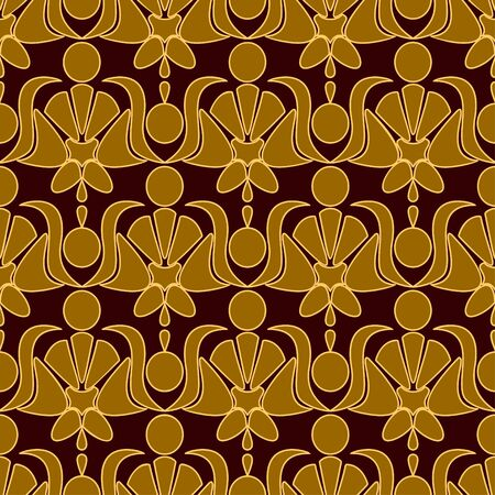 Seamless patterned wallpaper. A light ornament on a dark red background. Vector