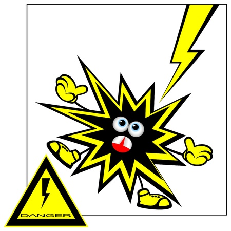 danger: Il poster divertente mette in guardia sul pericolo. Pericolo di una sconfitta da una corrente elettrica. Nel fondo di una composizione di un segnale di avvertimento.