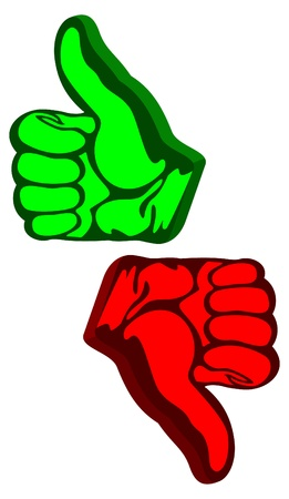 acknowledgement: Like and unlike signs on a white background. Like of green color. Unlike of red color.