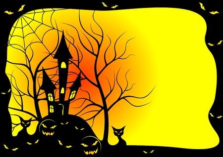 hillock: Tarjeta para una fiesta de Halloween. La tarjeta es ejecutada en color negro y amarillo. Vectores