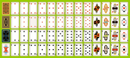 playing card symbols: Conjunto completo de naipes. Jugar a las cartas se encuentran sobre un fondo verde.