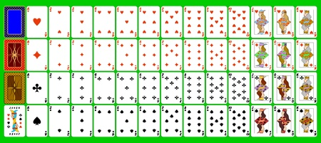 Complete set of playing cards. Vector