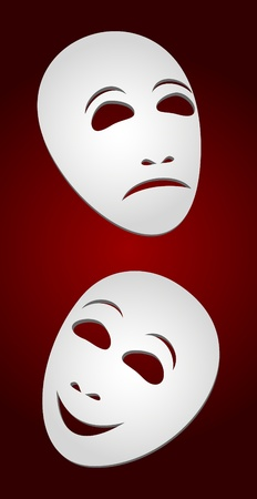 Two white theatrical masks on a red background. Masks represent tragedy and a comedy. Vector
