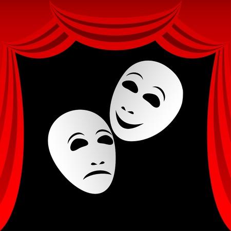 mimo: Dos m�scaras teatrales blanco sobre un fondo negro. Las m�scaras representan la tragedia y la comedia. En torno a una composici�n de una cortina roja.