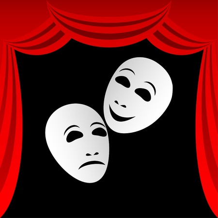 Two white theatrical masks on a black background. Masks represent tragedy and a comedy. Round a composition a red curtain. Illustration