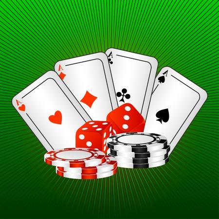 loto: Quatre Ases et les os de jeu sur un fond vert.