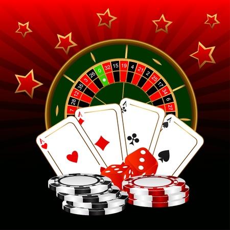 ruleta de casino: La ruleta, cuatro ases y dados contra un fondo oscuro.