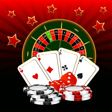 The roulette, four ases and dice against a dark background.