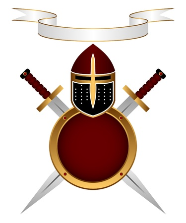 motto: Heraldic composition. A knightly helmet, a shield and swords on a white background. Above a banner for the motto.