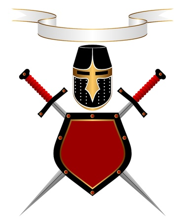 cold steel: Banner, knightly helmet, shield and swords on a white background. A heraldic composition.