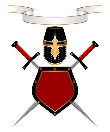 escudo militar: Banner, un casco de caballero, el escudo y la espada sobre un fondo blanco. Una composici�n her�ldica.
