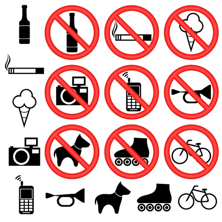 prohibiting: Signs forbidding different actions in various places. Signs are located on a white background.