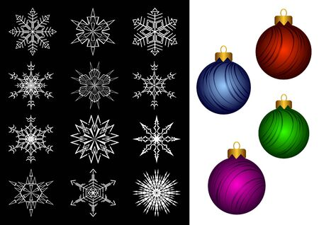 White snowflakes on a black background. Four fur-tree toys on a white background. Christmas and New Years ornaments. Vector