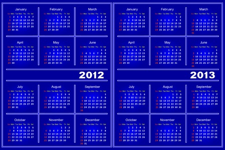 Template of a calendar on 2012 and 2013. A calendar of dark blue color. Ilustração