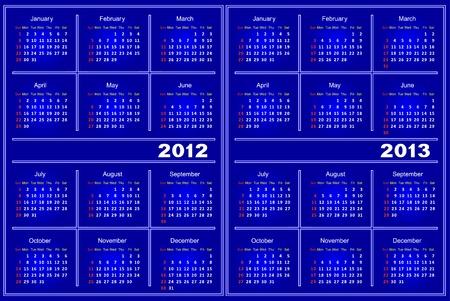 Template of a calendar on 2012 and 2013. A calendar of dark blue color. Illustration