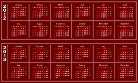 Template of a calendar on 2012 and 2013. A calendar of red color. Vector