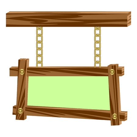 hangs: Wooden frame hangs on chains.Wooden frames having an empty seat for the text.Composition on a white background.