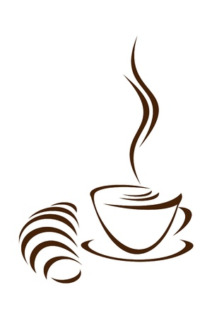 steaming coffee: Cup of coffee and croissant on a white background.