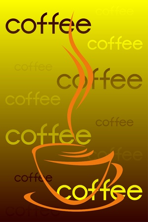Cup of coffee on a yellow background. Inscriptions coffee are in regular intervals located. Vector