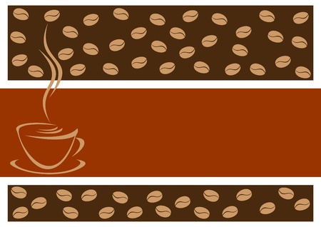 Abstract coffee background. In the foreground an empty seat for the text. Vector
