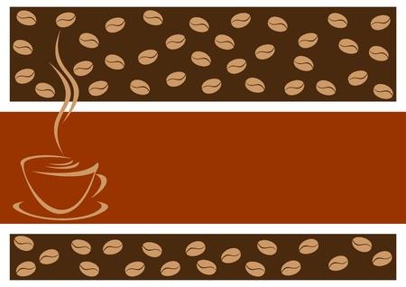 Abstract koffie achtergrond. Op de voorgrond een lege stoel voor de tekst. Vector Illustratie