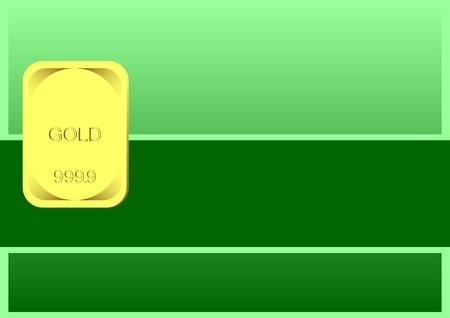 lingot or: Lingot d'or sur un fond vert. Au premier plan, un si�ge vide pour le texte.