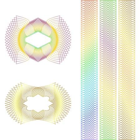Decorative guilloche rosette and borders on a white background. Banco de Imagens - 10785184