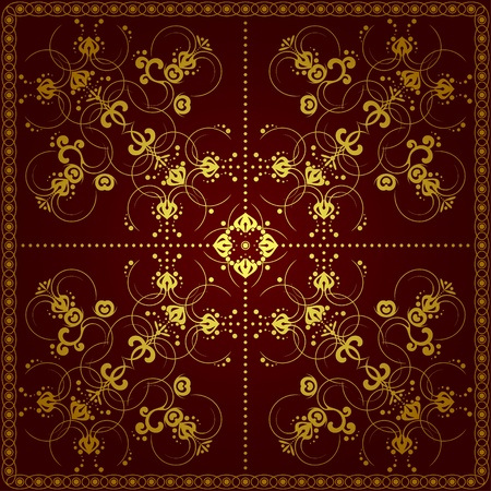 mural: Decorative symmetric pattern. The pattern is executed in dark tones.
