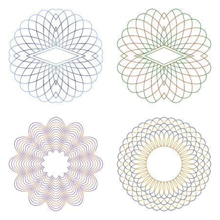 Guilloche decorative elements on a white background.