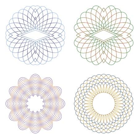 Guilloche elementos decorativos en un fondo blanco. Ilustración de vector