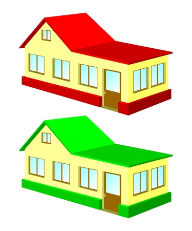 Two isolated houses on a white background. One house with the red roof, the second house with a green roof. Vector