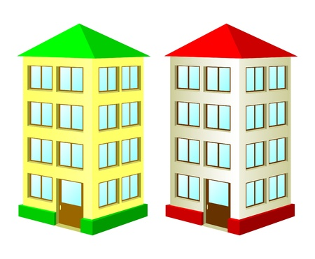 storey: Two high houses on a white background. The house with a green roof and the house with a red roof.